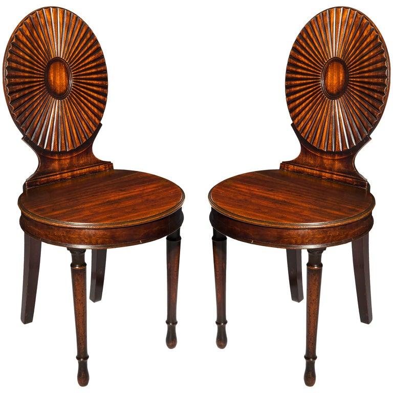 English 18th Century Georgian Neoclassical Ince & Mayhew Hall Chairs, circa 1780