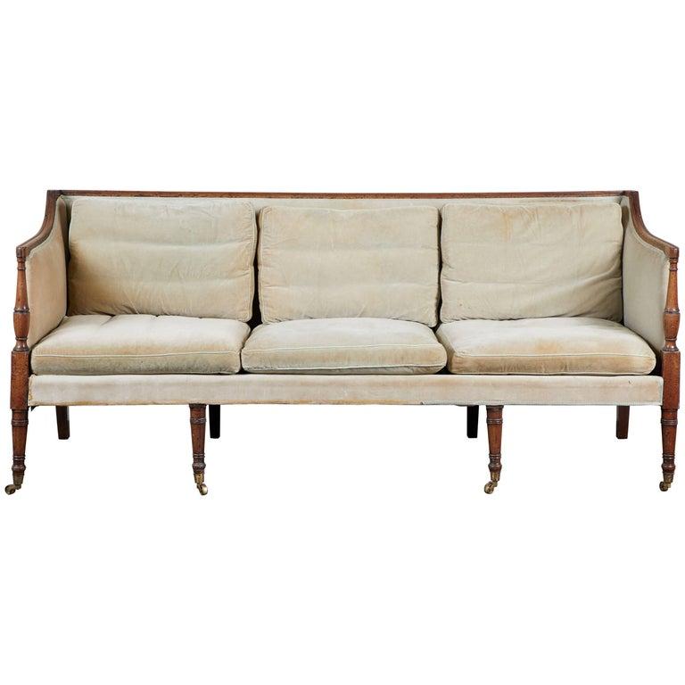 19th Century English Regency Mahogany Trimmed Sofa