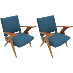 Pair of 1960s Zanine Brazilian Caviuna Armchairs in Blue Linen
