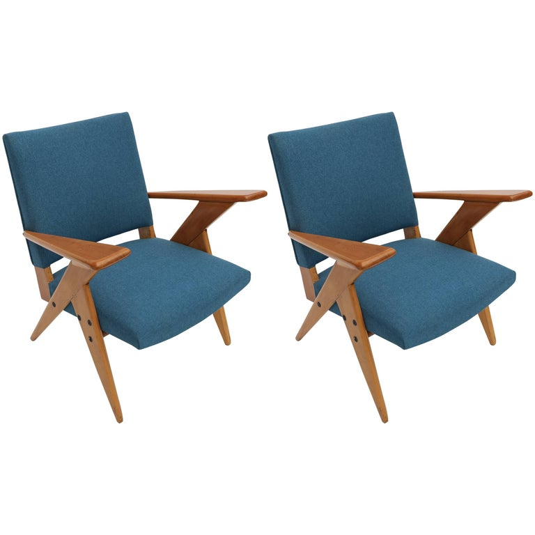 Pair of 1960s Zanine Brazilian Caviuna Armchairs in Blue Linen 1