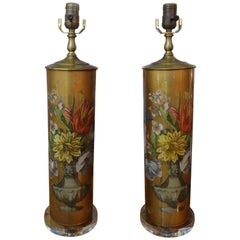 Pair of Floral Eglomise Lamps