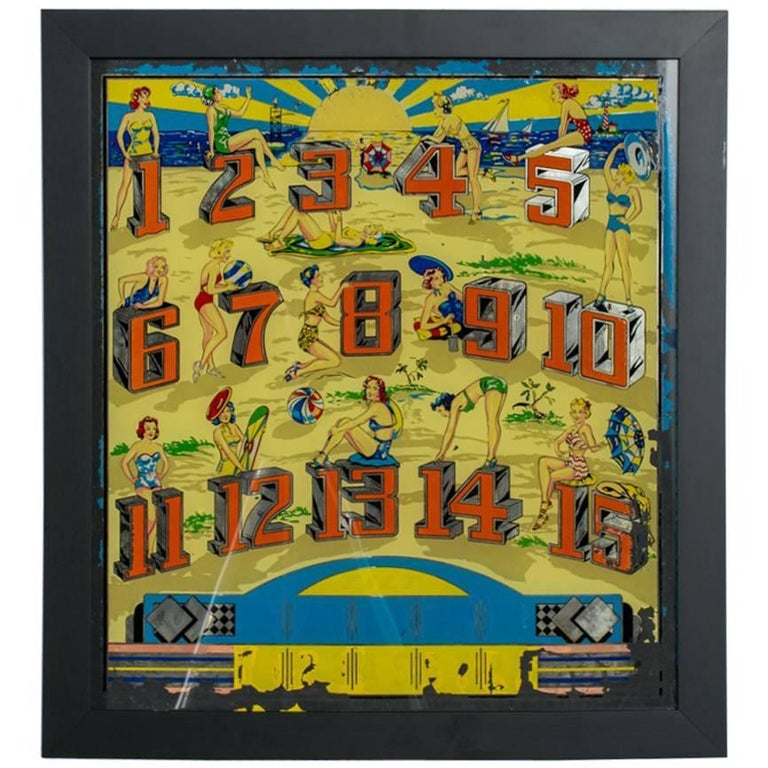 Framed Vintage Pinball Machine Art 1950s At 1stdibs