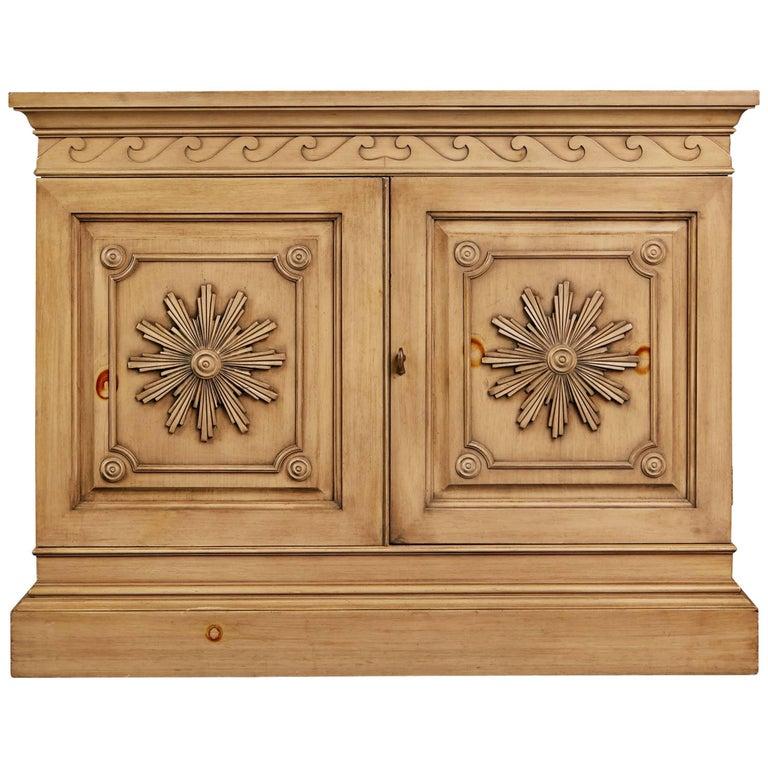 Edward Wormley Carved Oak Bar Cabinet for Dunbar, circa 1960