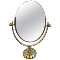 Charles Hollis Jones Brass Mirrorm with Flower Base