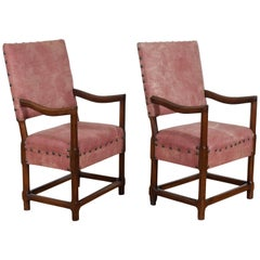 Pair Spanish Walnut Louis XIV Period Armchairs, Possibly Majorca, 18th Century
