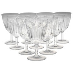 Set of Ten Baccarat Crystal 'Lorraine' Pattern White Wine Glasses, circa 1950s