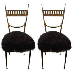 Pair of Italian Brass Chiavari Chairs in Black Mongolian Lambs Wool