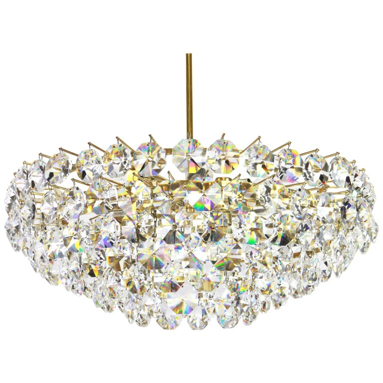 Bakalowits Chandelier, Brass and Crystal Glass, Austria, 1960s For Sale