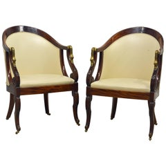 Elegant Pair of Napoleon III Empire Leather Covered Arm Chairs with Swan Mounts