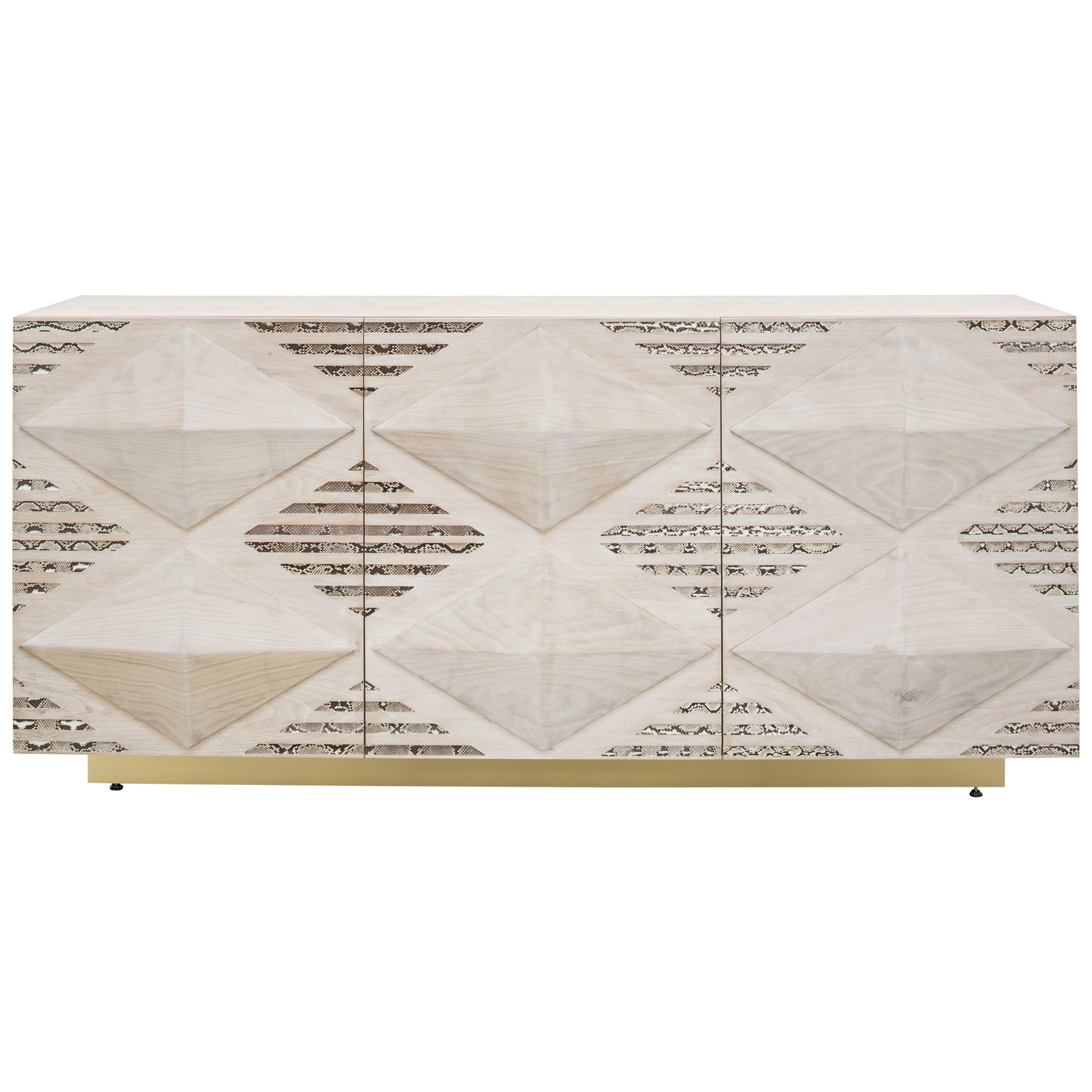 INES SNAKE BUFFET CABINET - Modern Bleached Walnut Cabinet with Real Python Skin