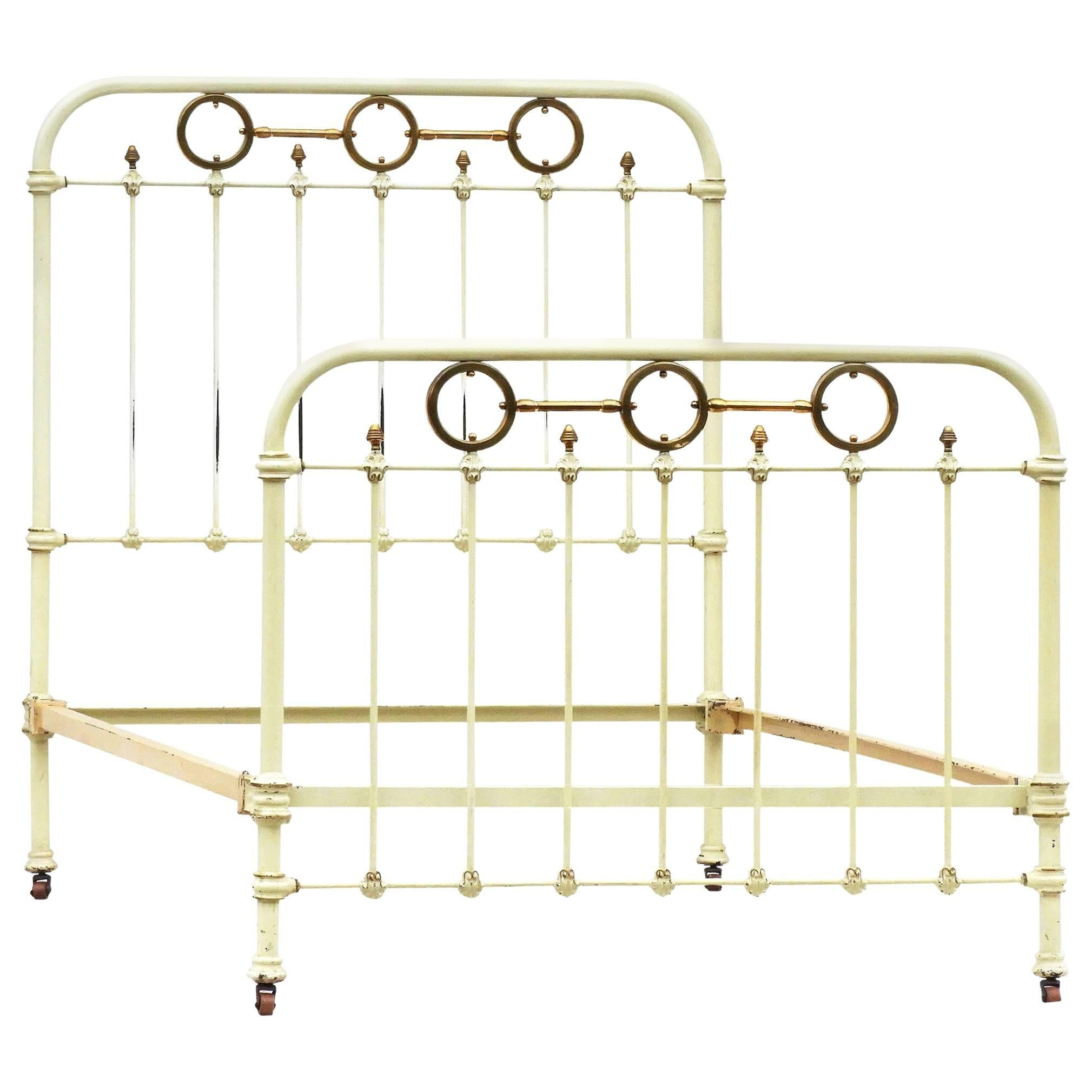 Antique French Brass and Iron Bed with Original Paint, circa 1890