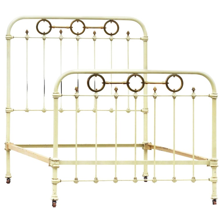 French Brass and Iron Bed with Original Paint, circa 1890
