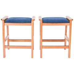 Pair of J.L. Moller-Hojbjerg Danish Modern Bar Stools with Royal Blue Fabric
