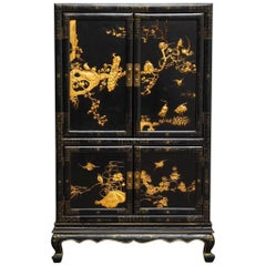 Chinese Export Gilt Lacquered Cabinet on Stand