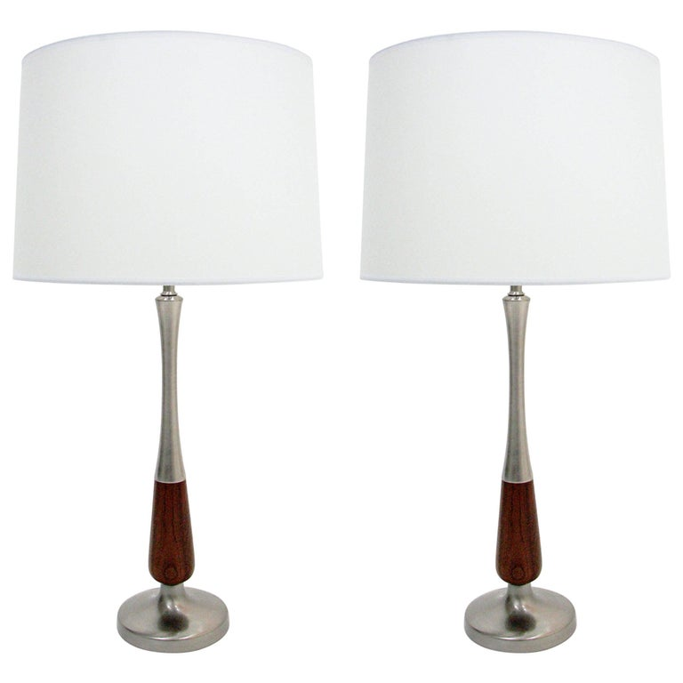 Pair of Midcentury Walnut and Brushed Nickel Lamps For Sale