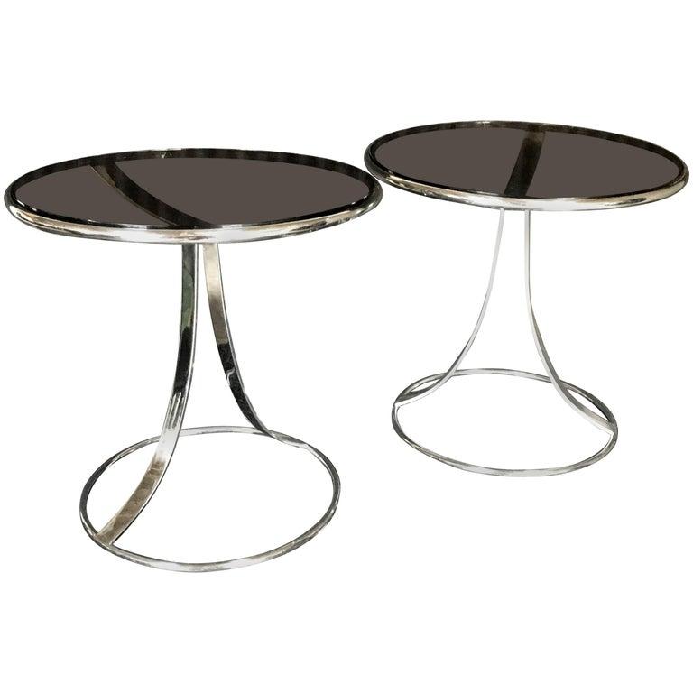 Striking Pair of Gardner Leaver for Steelcase Stainless Steel Side Tables