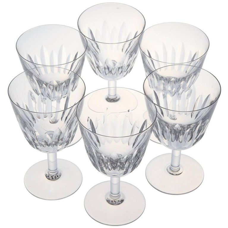 Set of Six Baccarat Crystal 'Lorraine' Pattern Red Wine Glasses, circa 1950s