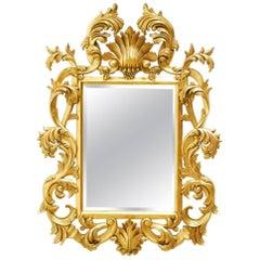 20th Century Italian Rococo Style Giltwood Mirror