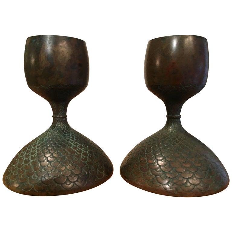 Pair of Bronze European Candle Sticks