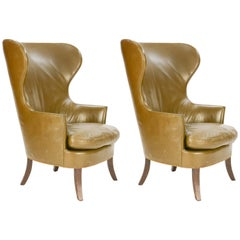 Pair of Custom Made-to-Order Regal Wingback Club Chairs