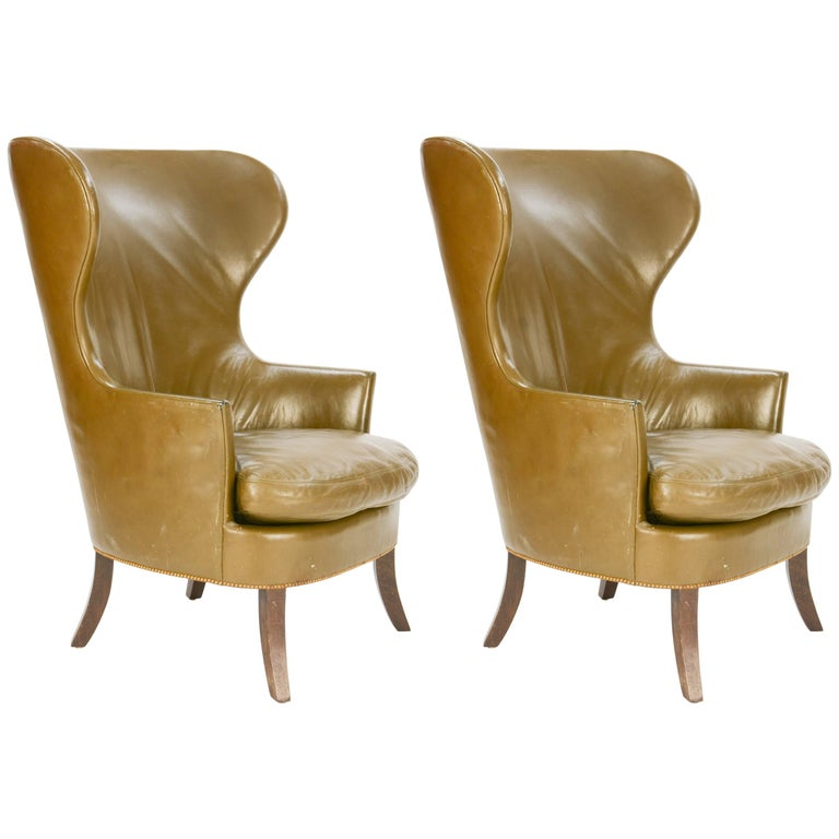 Pair of Custom Made-to-Order Regal Wingback Club Chairs For Sale