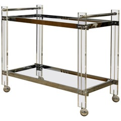 Large Midcentury Bauhaus Style Lucite, Chrome, and Mirrored Glass Bar Cart