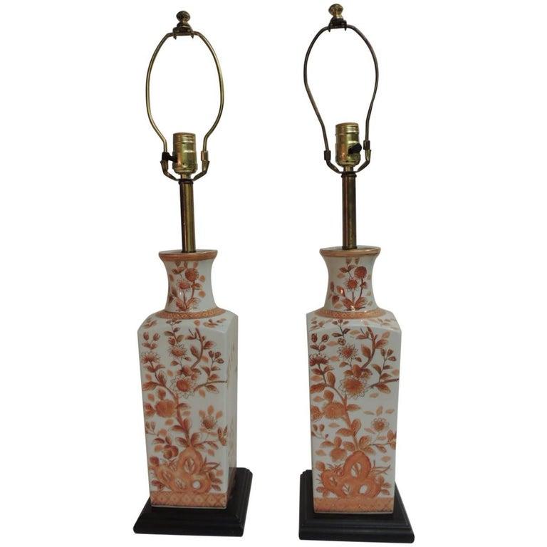 Pair of Vintage Chinese Imari Ceramic Table Lamps