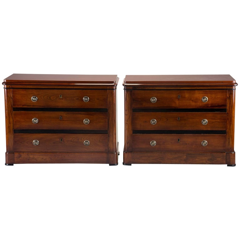 Pair of English Mahogany Chests with Black Detailing