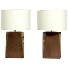 Pair of Large-Scale Lacquered Goatskin Lamps
