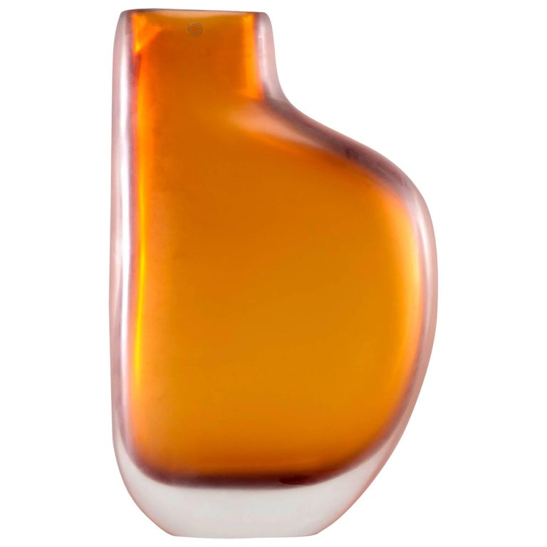 Limited Edition Amber Murano Cased Glass Vase by Arcade