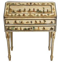 Italian Painted Desk with Decoupage Figures