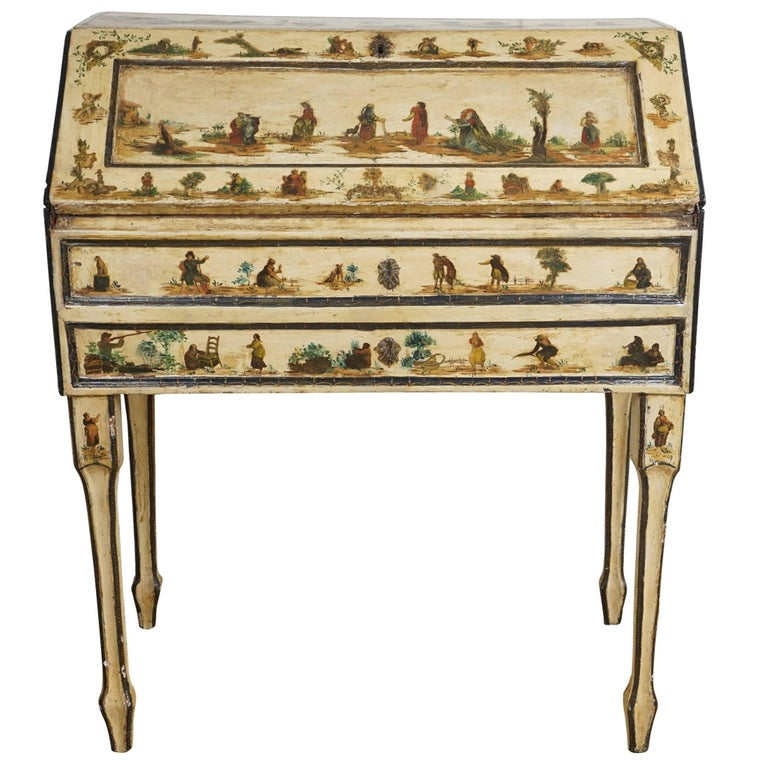 Italian Painted Desk with Decoupage Figures For Sale