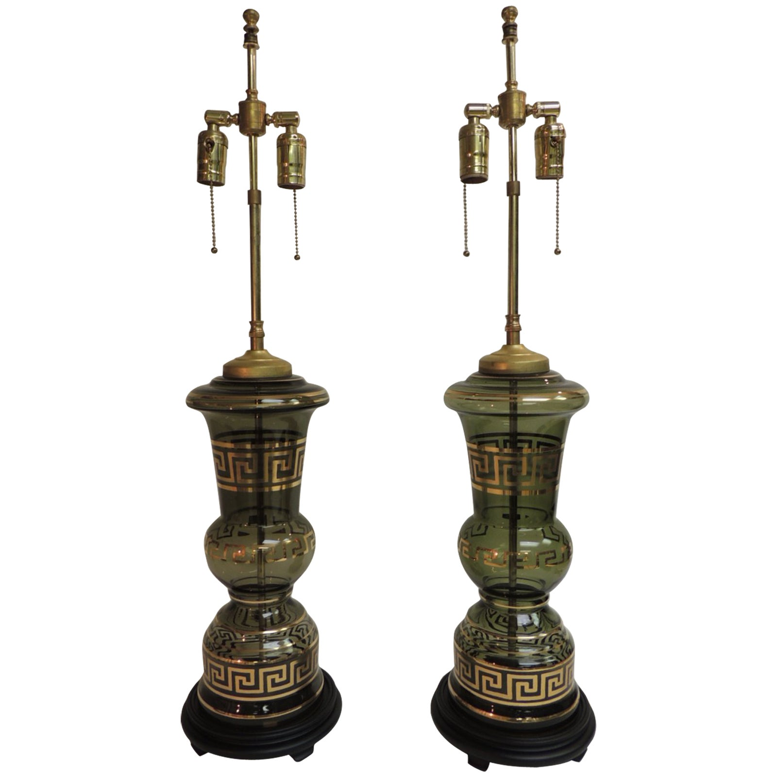 Pair of Antique Hand Blown Glass Lamps with Gold Greek Key Border