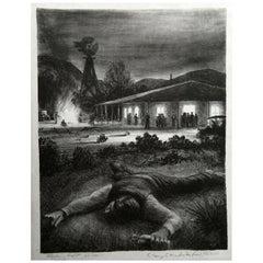"Peter Hurd Original Pencil Signed Lithograph, 1935, ""Saturday Night"""