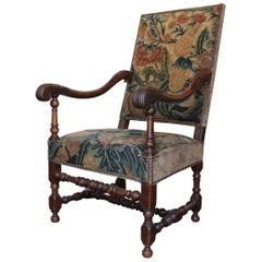 Louis XIII Fauteuil with Its Original Tapestry, circa 1630