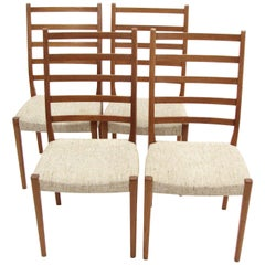Set of Four Teak Ladder Back Swedish Dining Chairs by Svegards Markaryd