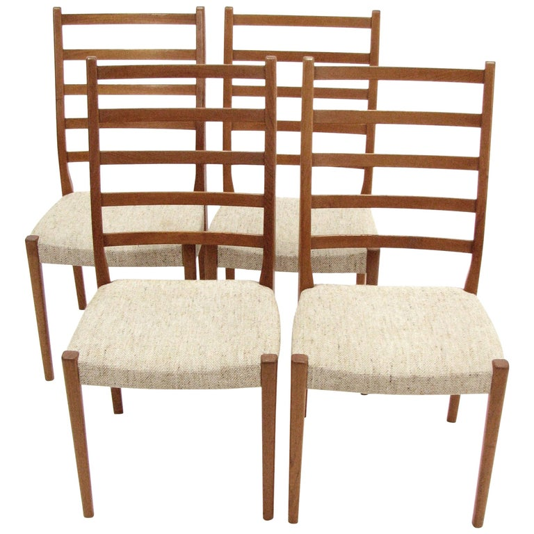 Set of Four Teak Ladder Back Swedish Dining Chairs by Svegards Markaryd For Sale
