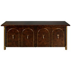 Mastercraft Burled Wood and Brass Credenza by William Doezema, circa 1960
