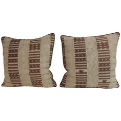 Pair of 19th Century Eyelet Brown and Tan Woven Decorative Pillows