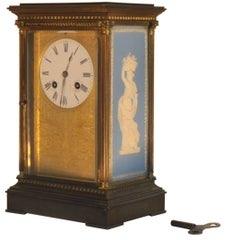 French Gilt-Brass Wedgwood Decorated Striking Clock, Signed Japy