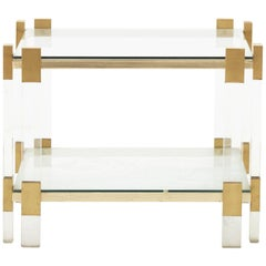 Spanish Lucite and Brass Side Table