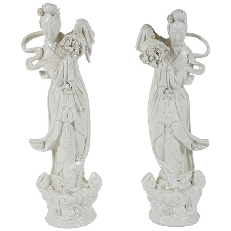 Pair of Blanc de Chine Figurines For Sale