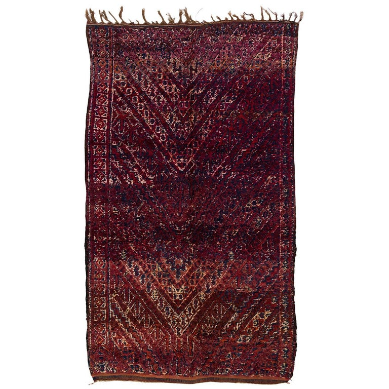 Classic 1930s Beni Mguild Moroccan Rug in Purple and Indigo
