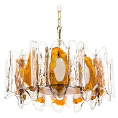 Kalmar Chandelier Pendant Light Fixture, Murano Glass Brass, 1970s