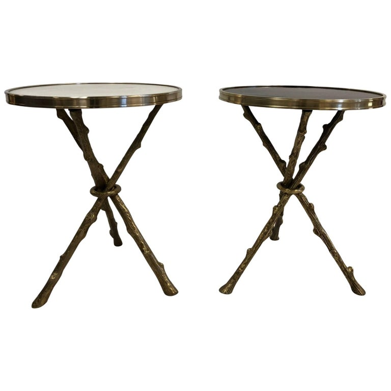 Pair Maison Bagues Style Bronze and Granite, Marble Top Tables