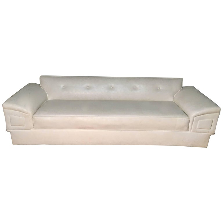 White Mid-Century Modern Sofa  For Sale