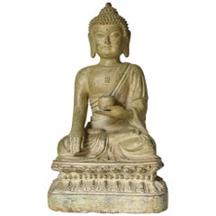 Large Pale Green Bronze Buddha Statue