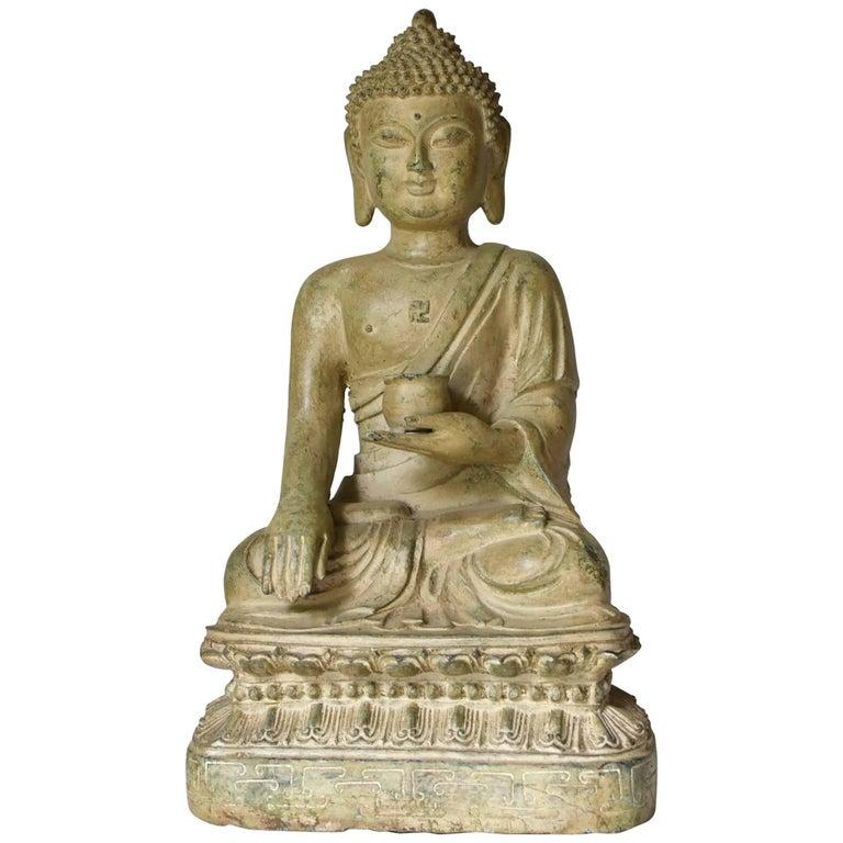 Large Pale Green Bronze Buddha Statue
