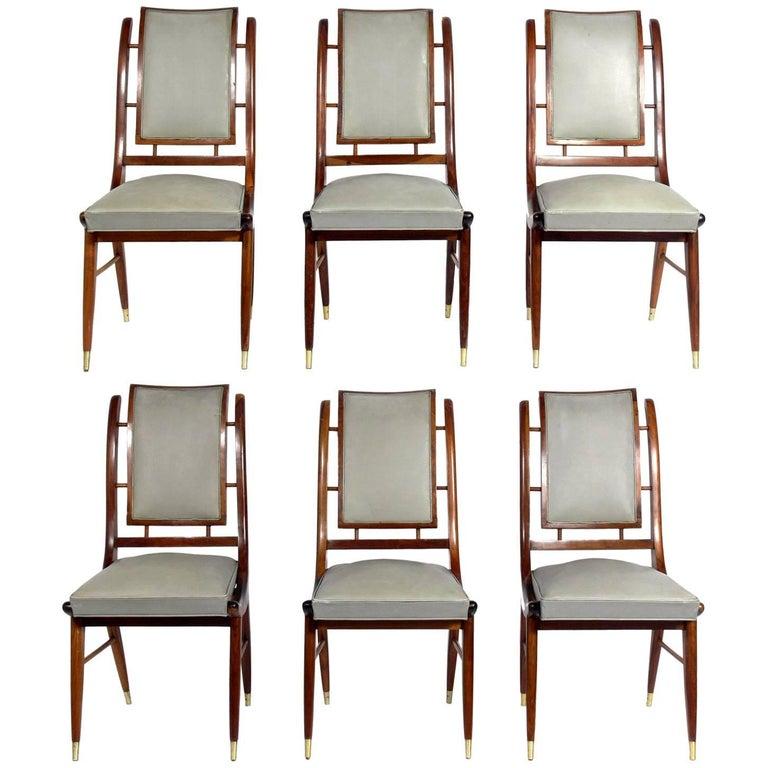 Set of Six Italian Midcentury Dining Chairs