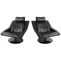 Pair of Swedish Swivel Lounge Chairs